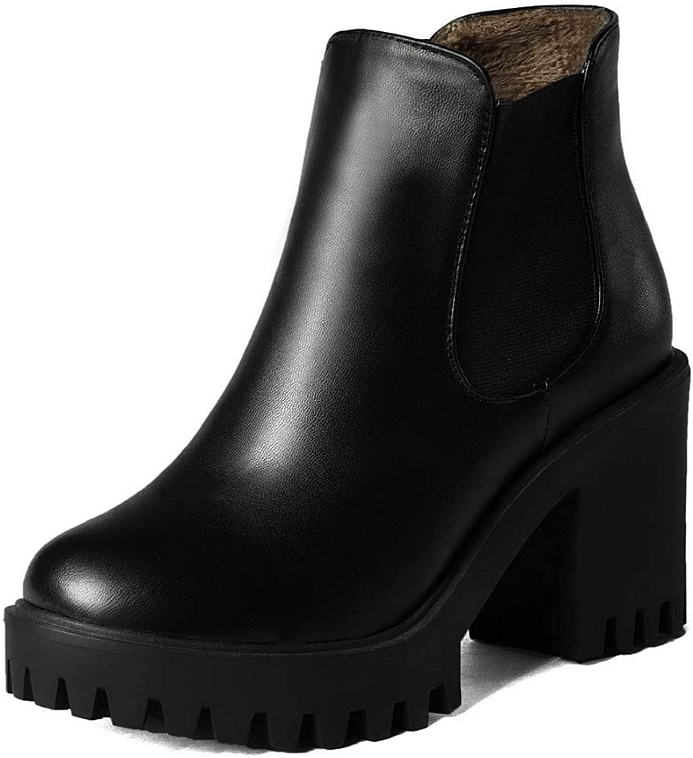 AmoonyFashion Women's Low-Top Solid Pull-On Closed-Toe High-Heels Boots, BUSXT009691