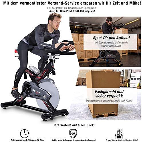 Sportstech Profi Indoor Cycle SX400 inkl. VORMONTAGE– Deutsche Qualitätsmarke - mit Video Events & Multiplayer App, 22KG Schwungrad, Pulsgurt kompatibel-Speedbike mit leisem Riemenantrieb - Ergometer