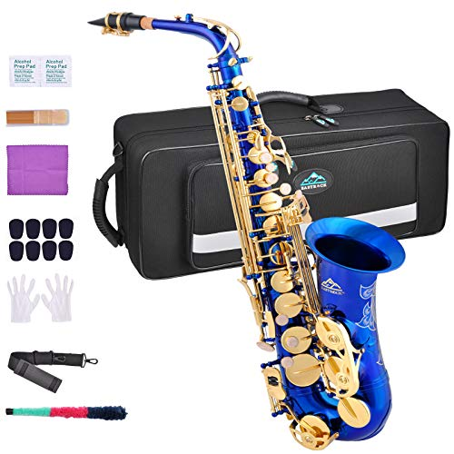 EASTROCK Blue/Golden Alto Saxophone E Flat Sax Full Kit for Students Beginner with Carrying Case,Mouthpiece,Mouthpiece Cushion Pads,Cleaning Cloth&Cleaning Rod,White Gloves,Neck Strap