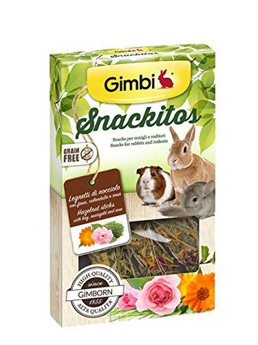 Gimbi Snackitos - Leña de avellana para roedores enriquecida con caléndula aromática,...
