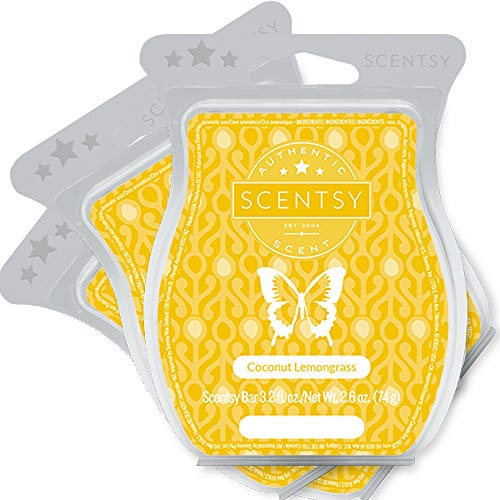 Scentsy, Coconut Lemongrass, Wickless Candle Tart Warmer Wax 3.2 Oz Bar, 3-pack (3),yellow