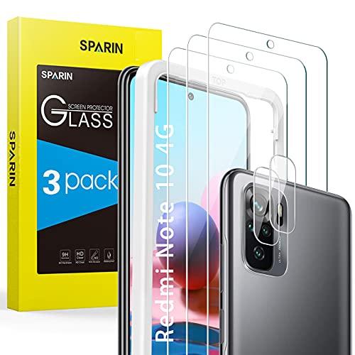 SPARIN Schutzfolie für Xiaomi Redmi Note 10 4G / Note 10S Panzerglas, 3 Stück Bildschirmschutzfolie & 2 Stück Kamera Panzerglasfolie, 9H Festigkeit, Anti- Kratzer