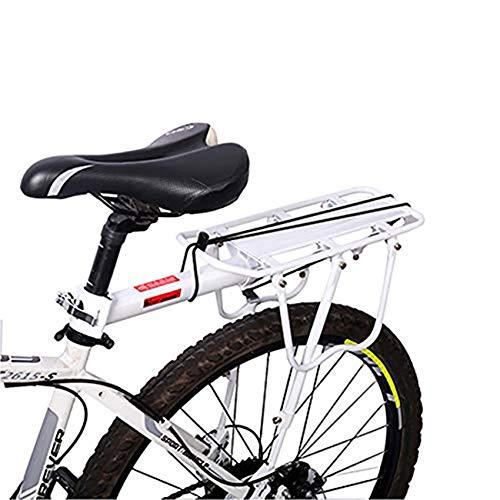 Enkrio Fahradgepaecktraeger Hinten,Fahrradgepäckträger Mountainbike Fahrradzubehör Sattelstütze 50 kg Kapazität,Weiß