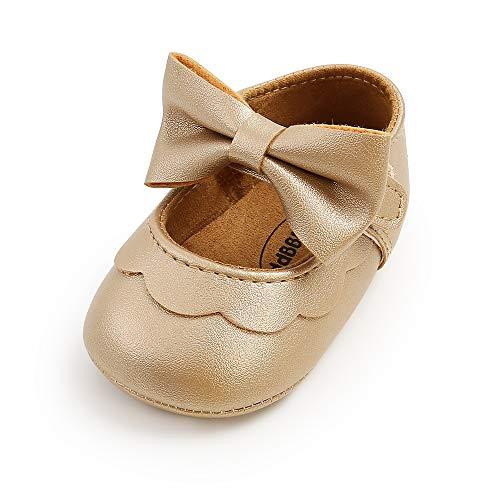 MASOCIO Baby Schuhe Mädchen Babyschuhe Lauflernschuhe Ballerinas Kleinkind Anti-Rutsch Gold 6-12 Monate