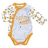 Baby Sweets Baby Langarm-Wickelbody für Jungen & Mädchen aus Bambus als Erstausstattung/Baby-Wickel-Body im Fuchs-Motiv in Weiß-Grau-Orange für Neugeborene/Unisex-Babykleidung Größe Newborn (56)