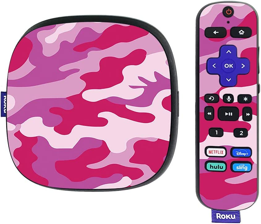 MightySkins Skin Compatible with Roku Ultra HDR 4K Streaming Media Player (2020) - Pink Camo | Protective, Durable, and Unique Vinyl Decal wrap Cover | Easy to Apply | Made in The USA