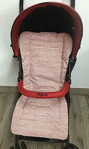 Colchoneta para silla de paseo universal flor roja. Funda silla de coche. Mundi Bebé.