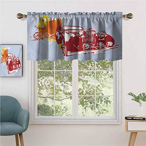 MDOUWoo Rod Pocket Valance Blackout Curtain Classic Vintage Collectors Detailed Vehicle Design in Abstract Backgro, Set of 1, 52'x18' for Bedroom Living Room