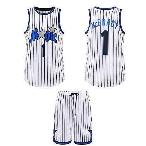 Maglia da Basket da Uomo, Orlando Magic 1# Tracy McGrady Mesh Jersey, Maglietta Sportiva Estiva Felpa Traspirante Tifosi Uniformi da Allenamento,Bianca,5XL