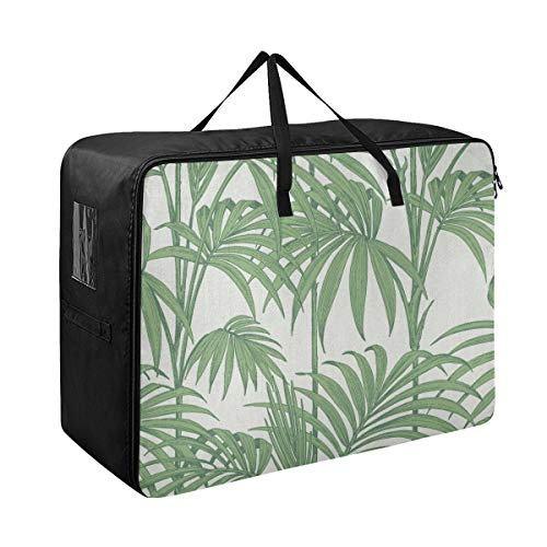 Liaosax Clothing Travel Organizer Julien Macdonald Honolulu Wallpaper Palm Green Storage Clothes Bags Zip 70 X 50 X 28 cm Quilt Bedspread Pillow Luggage Moving Tote Garment Closet Storage Organizer
