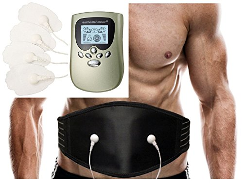 8 Modes Best Portable Electro Pain Relief Massage Therapy OTC Machine + Sciatica Support Back Belt Plus | Back Pain Free | Provide Back Acupressure | Great Abdominal Muscle Exercise Toning Belt HealthmateForever PM8 (Green) FDA CLEARED LIFETIME WARRANTY!