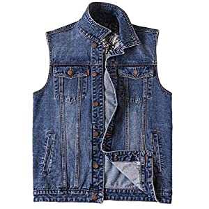 Men's Casual Button Up Denim Vest Vintage Sleeveless Jeans Vest Jacke...