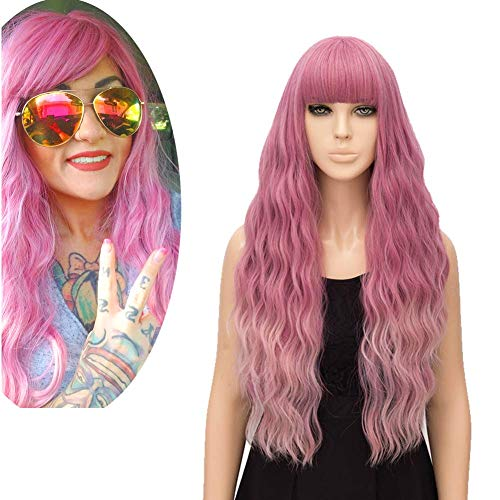 FiveFour Pink Ombre Wig for Women Long Wavy Heat Resistant Fiber Wigs Side Bangs Cosplay Party