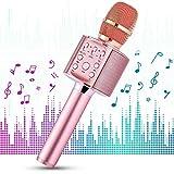 1 BY ONE Micrófono de karaoke inalámbrico Bluetooth,portátil 4 en 1 con altavoz y Bluetooth 4.2 para smartphones y PC con Android e iOS,para fiestas en casa y al aire libre (Rosa red)
