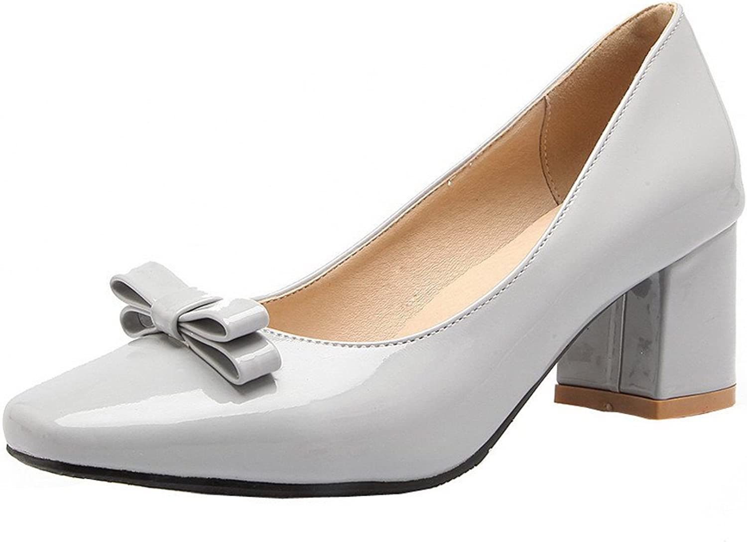 AmoonyFashion Women's Solid Patent Leather Kitten-Heels Square Closed Toe Pumps-shoes