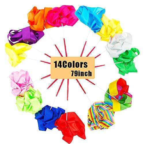 14 piezas de cintas de danza Streamers, coloridas y Rythmic Gymnast Bibbon Wands para niños como regalo
