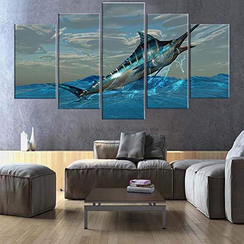 ZHANGGONG Impresiones sobre Lienzo 5 Panel Imprimir Cuadro Lienzo Pared Modernos Niños Cartel Decoración para El Hogar Saltando Atún Marlin Mural Marco/100X55CM