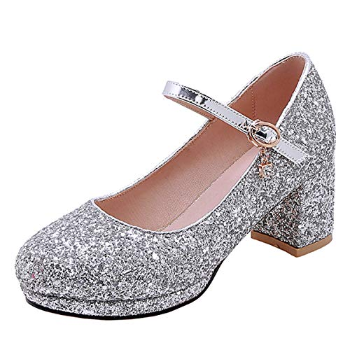 scarpe donna decolte tacco medio primavera LUXMAX Mary Jane Scarpe Glitter Donna Decolte Tacco Medio Blocco con Paillettes da Sposa Decollete Cinturino Fibbia (Argento) - 41 EU