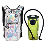 J.CARP Rave Hydration Pack Backpack - 2L Water Bladder Included for Festivals, Raves, Hiking, Biking, Climbing, Running and More (3 Pocket), Silver