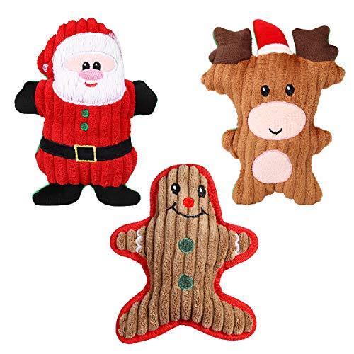 Balacoo Hundespielzeug aus Plüsch, mit Quietschelement, Weihnachtsmann, Schneemann, Rentier, für kleine Hunde, Welpen, Katzen, Katzen, 3 Stück