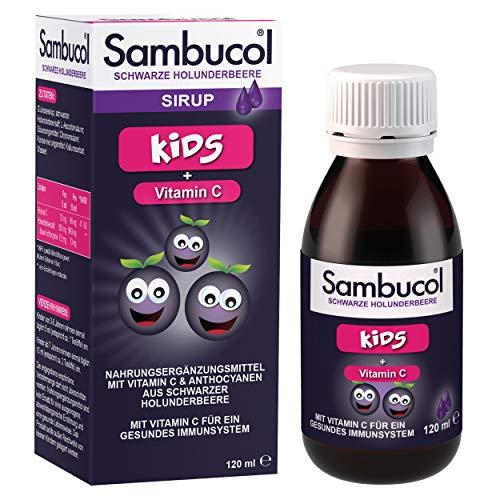 Sambucol Kids schwarze Holunderbeere – 120ml Sirup mit Vitamin C zur Unterstützung des Immunsystems und um die Abwehrkräfte zu stärken – von Virologin entwickelter weltweiter Bestseller