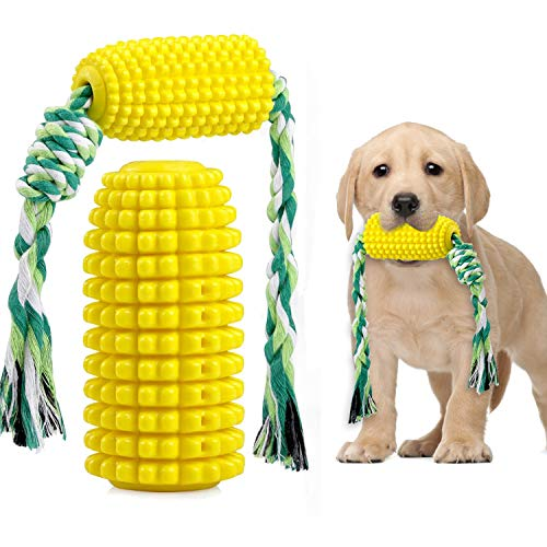 TIMOBUBBLE Dog Chew Toys, Bite-Resistant Toothbrush, Corn Molar Stick with Rope, Puppy Dental Care Brushing Stick for Small Medium Large...