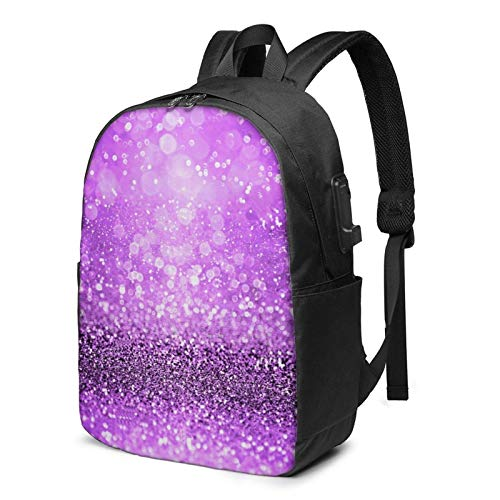AOOEDM Purple Glitter Sparkle Girly Printed Travel Lightweight Backpack with USB Charging Port and Headphone Port