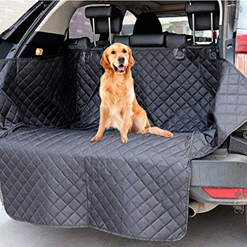 Car Boot Protector for Dog, Universal Nonslip Car Trunk Dog Seat Cover with Safety Belt and Waterproof Anti-dirty Design, for Truck SUV (Black)181 X 100 X 38cm