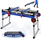 WORKPRO Work Bench, 4-In-1 Portable Workbench, Quick Folding Work Table with Detachable Miter Saw Stand and Height Adjustable Legs, Work as Scaffold/Dolly/Creeper/Platform for Woodworking Tools