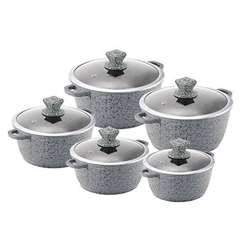 Sq Professionelles Kochtopf, Granit, antihaftbeschichtet, Grau, 5-teiliges Set