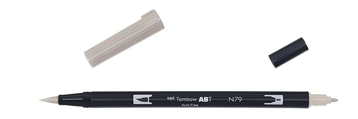 Tombow Dual brush-n79?–?Double Tip Brush Marker, Grey