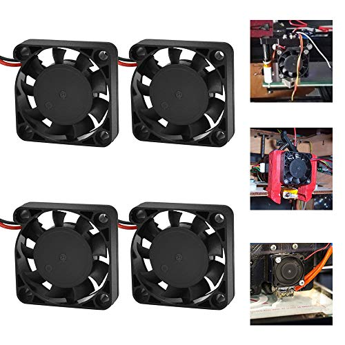 RMENOOR 4 Pcs 3D Printer Fan, 12V DC Brushless Fan 4010 Fans Quiet Exhaust Fan with 2 Pin Terminal Hydraulic Turbo Cooling Fan for 3D Printer,Computer Case,Other Small Appliances(40mm x 40mm x 10mm)
