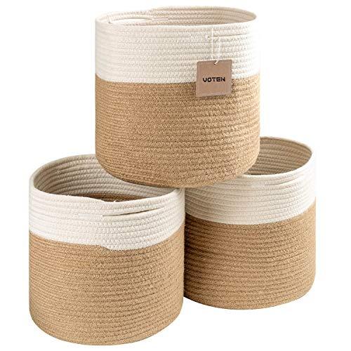 voten Rope Storage Baskets Bins 3 Pack Storage Cube Organizer Foldable Decorative Woven Basket with Handles for ClothesToyMakeupBooksTowelsNurseryRound 11x11x11 White Jute