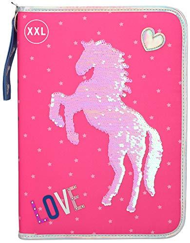 Depesche 10604 Federtasche XXL mit Streichpailletten, Miss Melody Love rosa, ca. 28 x 20 x 4 cm, bunt