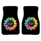Jiueut Personalized Tie Dye Sunflower Design Car Floor Mats Carpet,Universal Fit 2pc Front Rubber Backing Floor Mats for Car SUV Van & Truck,Washable & Durable