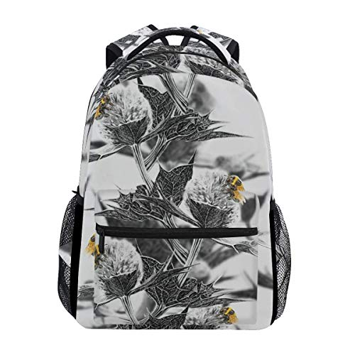 College Bag Thistle Bumblebee Travel Durable Unique Casual Shoulder Bag College Printed School Lightweight Backpack Gift Bookbag Stylish Student