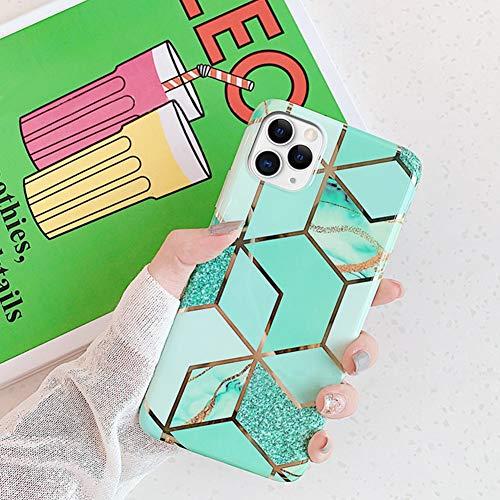 Ysimee Compatible avec iPhone 11 Pro Coque Géométrique Marbre Design Plaquée de Couleur Housse en TPU Silicone Souple Glitter Sparkle Etui Ultra Mince et Léger Anti-Scratch Bumper Cas,Vert