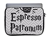Espresso Patronum Quote Old Style Chevron Pattern 11x14 inch Neoprene Zippered Laptop Sleeve Bag by Trendy Accessories for MacBook or Any Other Laptop