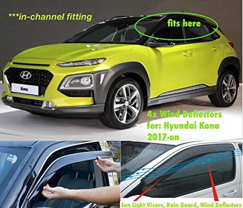Set mit 4 Windabweisern für Hyundai Kona 2017 2018 2019 2020 2021 2022 Seitenfenster Regenschutz Sonnenblende Acrylglas PMMA.