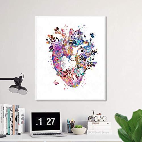 liwendi Corazón Humano Anatomía Vintage Póster Impresiones Medicina Estudiante Regalo Órgano Arte Acuarela Lienzo Pintura Doctor Oficina Decoración De La Pared 50X70 Cm