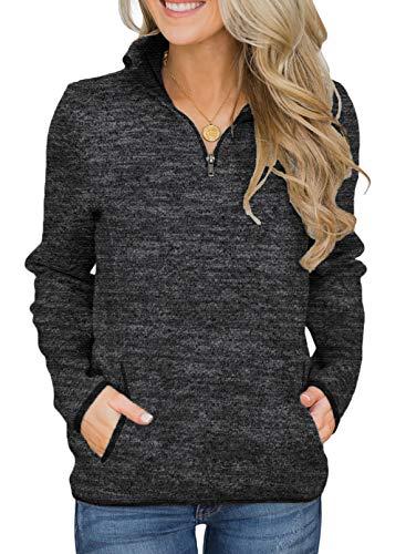 Aleumdr Women Knit Sweater Pullovers Casual Winter Long Sleeve 1/4 Zipper Sweatshirt with Pockets Black Medium 8 10