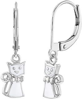 925 Sterling Silver White Enamel Cat Lever Back Dangle Earrings for Girls Teens