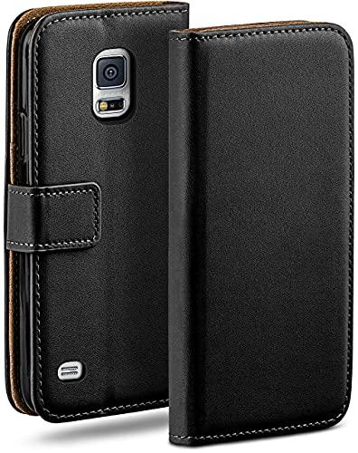 moex Klapphülle für Samsung Galaxy S5 Mini Hülle klappbar, Handyhülle mit Kartenfach, 360 Grad Schutzhülle zum klappen, Flip Hülle Book Cover, Vegan Leder Handytasche, Schwarz