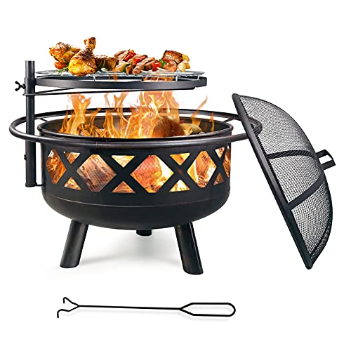 MARVOWARE 2-in-1 Outdoor Fire Pit with Cooking Grate 30' Heavy Duty Fire Pits Outdoor Wood Burning Steel BBQ Grill Firepit Bowl with Spark Screen Cover Log Grate Fire Poker