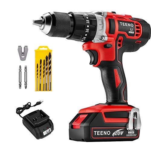 TEENO Hammer Drill Driver 20V 1/2' Cordless Drill Set 1x2.0Ah Li-Ion Battery