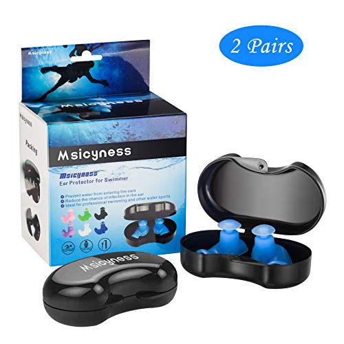 Msicyness Swimming Ear Plugs, 2 Pairs Waterproof Reusable Silicone EarPlugs for Swimmers Showering Bathing Surfing and Other Water Pool Sports Adults Size(Blue)