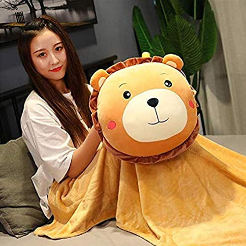 JSBVM Quilt Pillow for Hand Warmers Winter Blanket for Dual Use Three-in-One Plush Cute Handcuffs Can Put A Hot Water Bottle 45cm