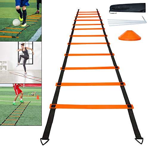 Ausun - Scaletta per coordinazione, 6 m, 12 rung Agility Ladder, allenamento di coordinazione