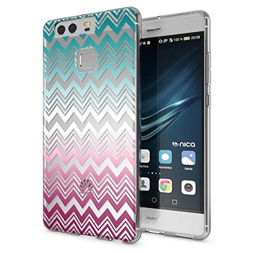 NALIA Cover Custodia compatibile con Huawei P9, Protezione Silicone Trasparente Sottile Case, Gomma Morbido Cellulare Ultra-Slim Telefono Protettiva Bumper Guscio, Designs:Colorful Lines
