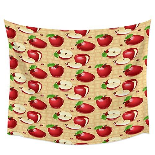 WAXB Tapiz Tejido De Mariquita De Manzana Roja Tapices para Colgar En La Pared De Dormitorio Universitario para Sala De Estar Dormitorio Decoración del Hogar